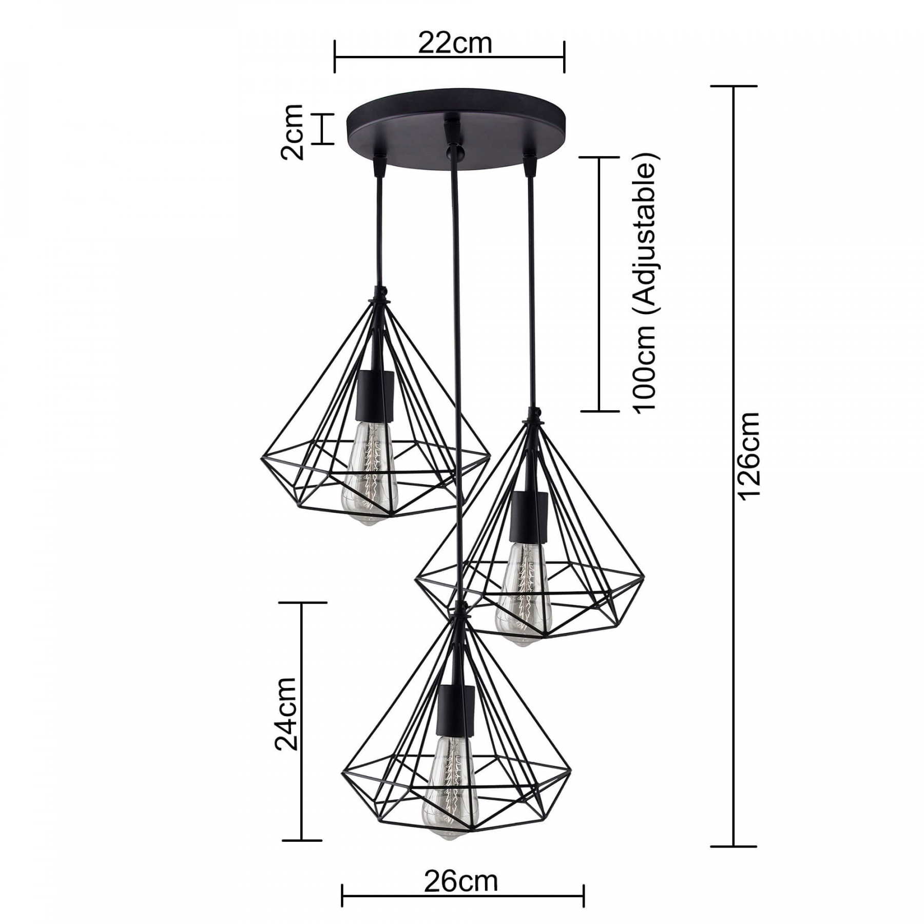 3 Lights Round Cluster Chandelier Black Diamond Hanging