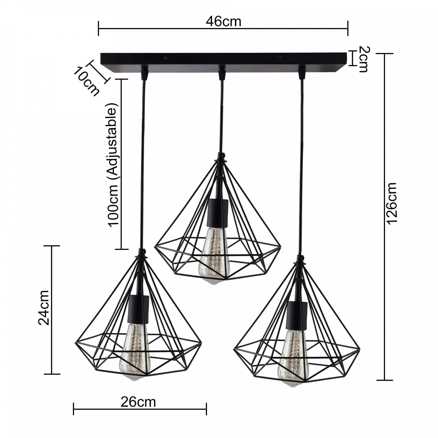 3 Lights Linear Cluster Chandelier Black Diamond Hanging