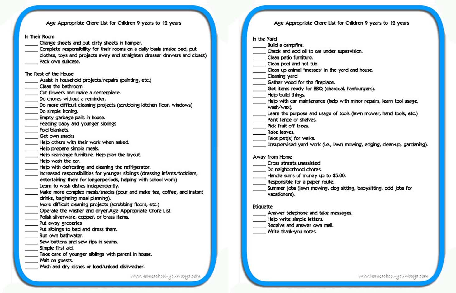 Age Appropriate Chore List For Children 9 Years To 12 Years