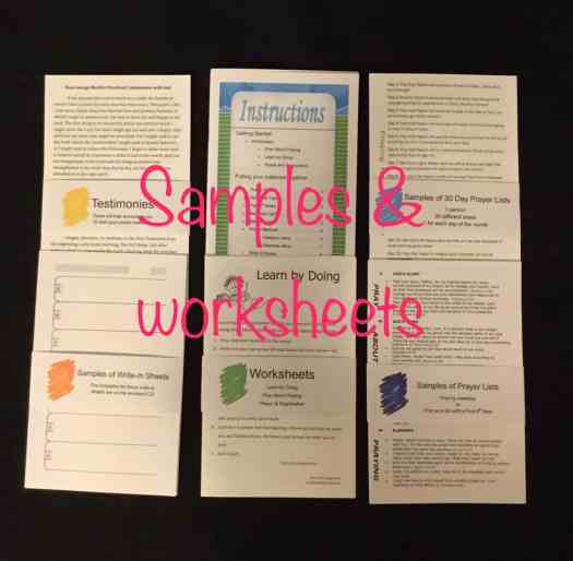 Prayer notebook sample worksheets: instructions, tesimonies, learn by doing and pray about praying