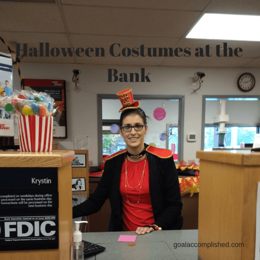 Parenting Tips: Halloween at the Bank. This teller is dressed up like a circus ringmaster.