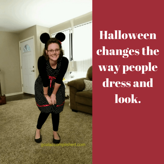 Halloween parenting tips: Young lady dressed up as Minnie Mouse. Text reads: Halloween changes the way people dress and look.