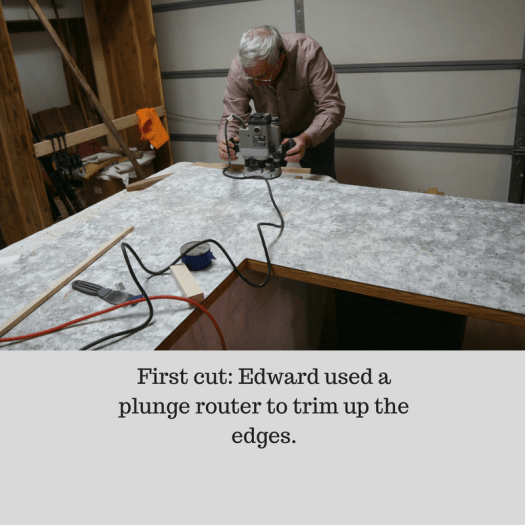 The first cut: Edward used a plunge router to trim up the edges.