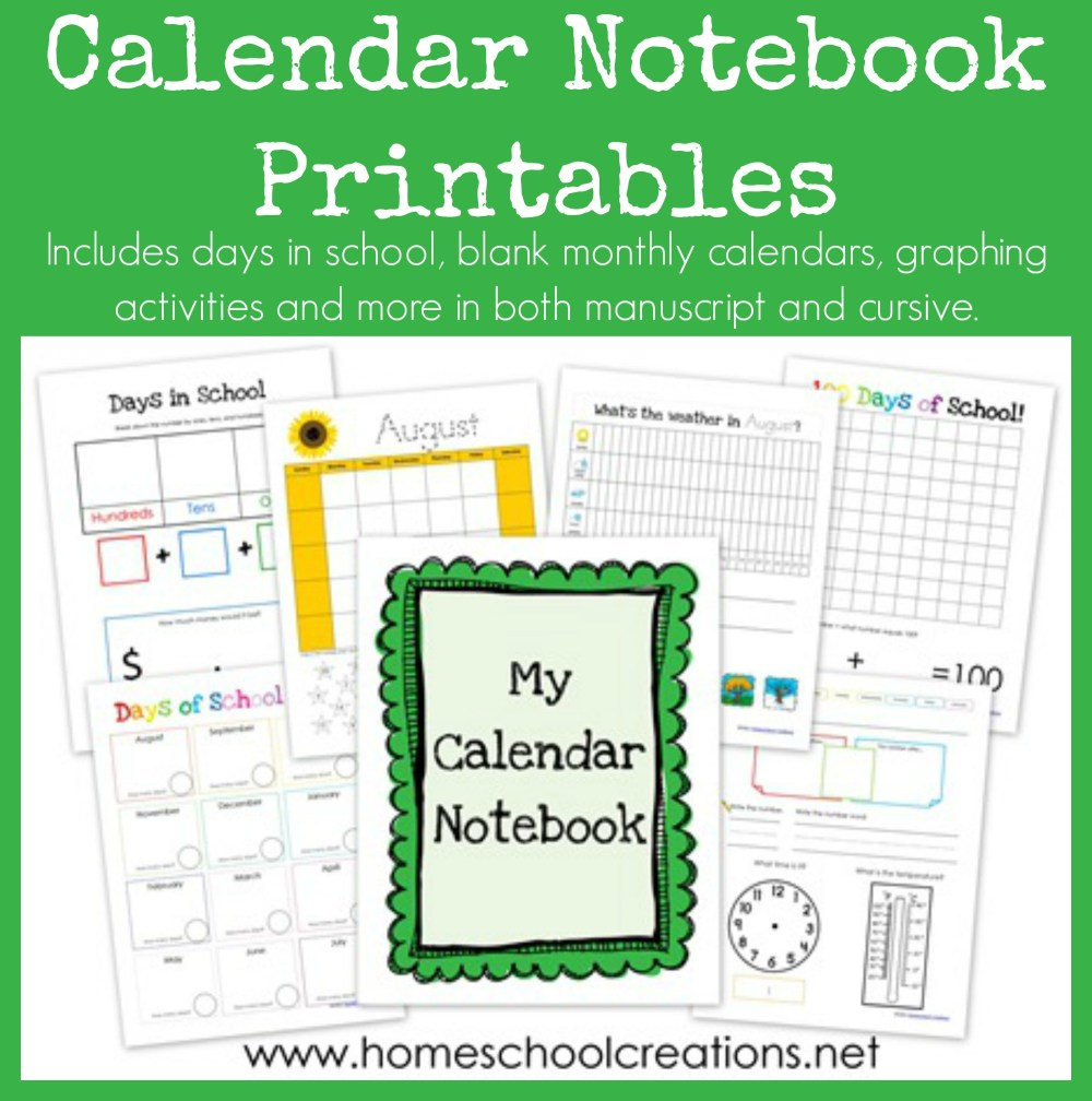 medium resolution of Calendar Notebook Binder Printables