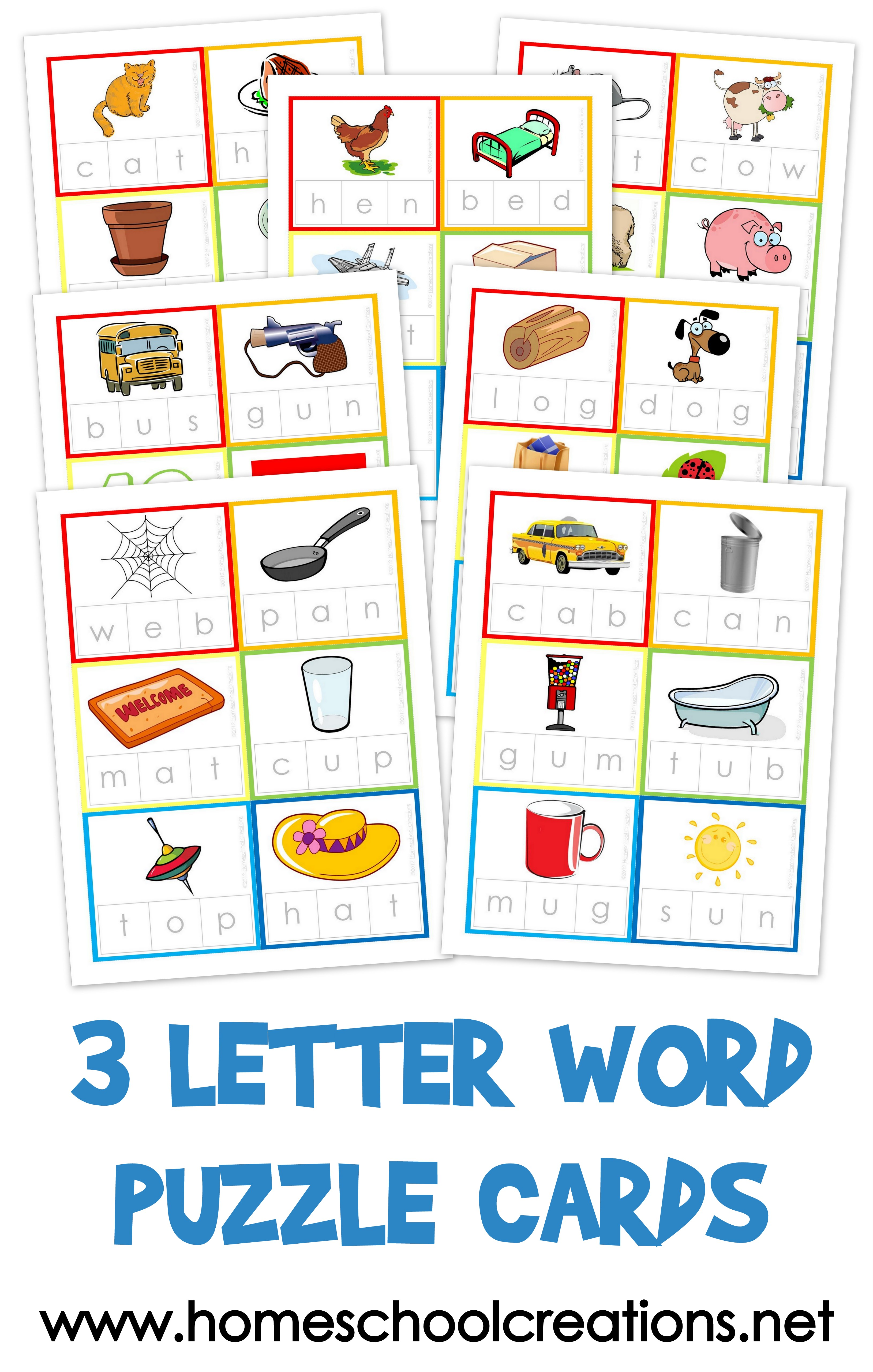 3 Letter Word Puzzle Cards