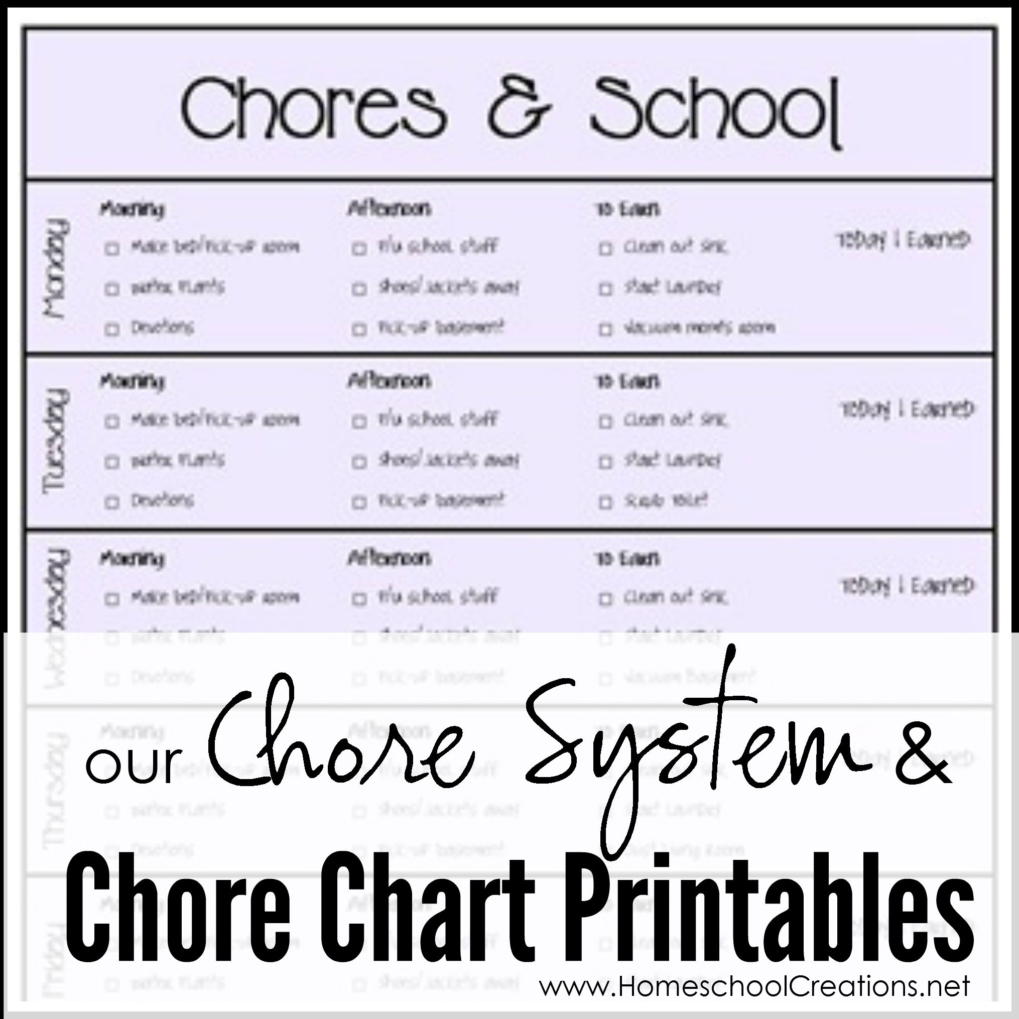 Our Chore System Amp Chore Charts For Kids Printables