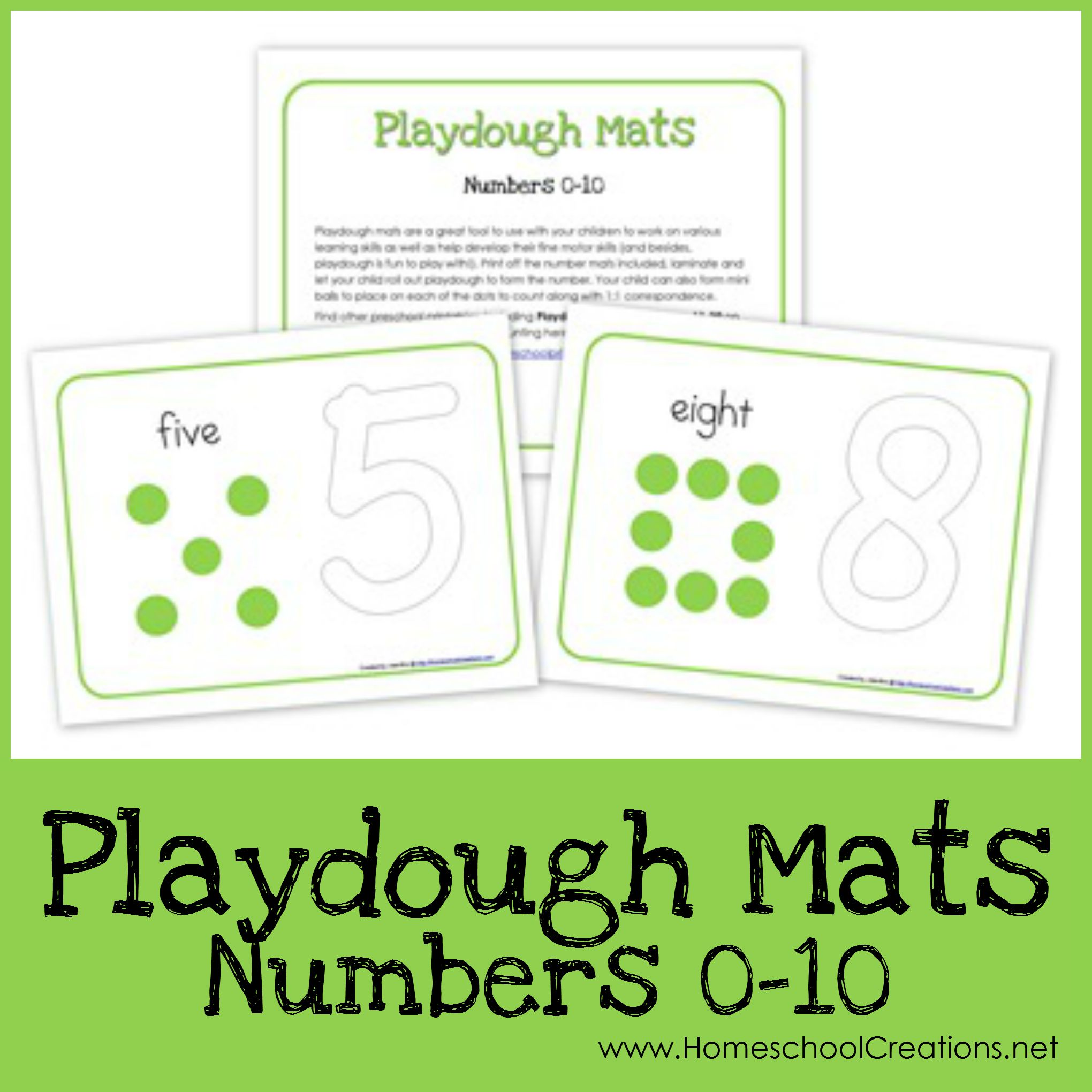 Number Playdough Mats Free Printables