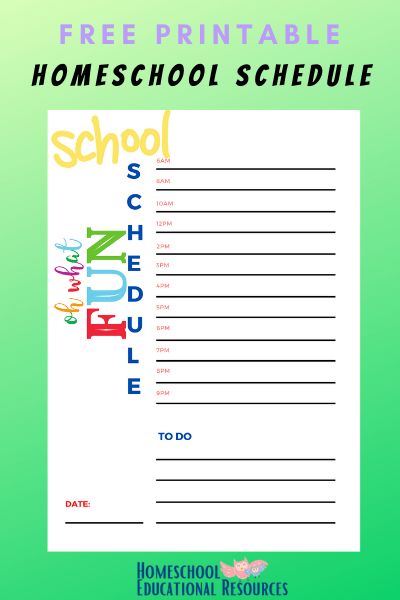 download free homeschool schedule for elementary students