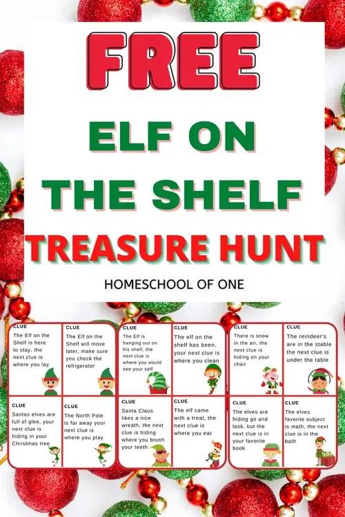Free elf on the shelf scavenger hunt clues for kids. Free printable treasure hunt for christmas