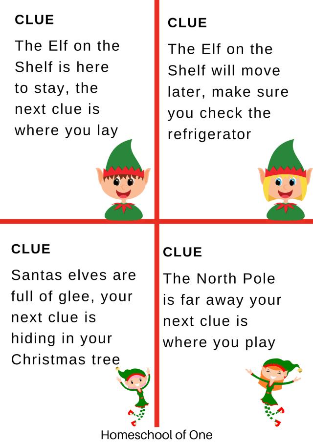 elf treasure hunt clues