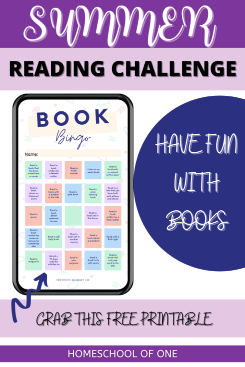 Summer reading challenge with this book bingo free game