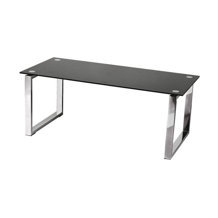 black tempered coffee table glass top with chrome legs