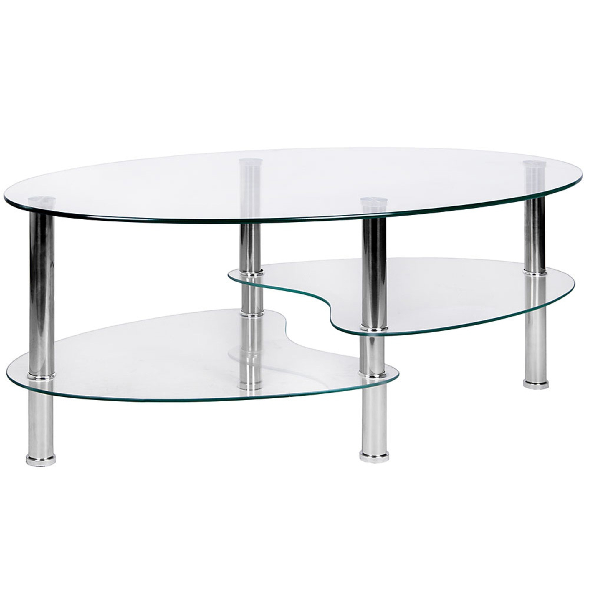 cara oval clear glass coffee table