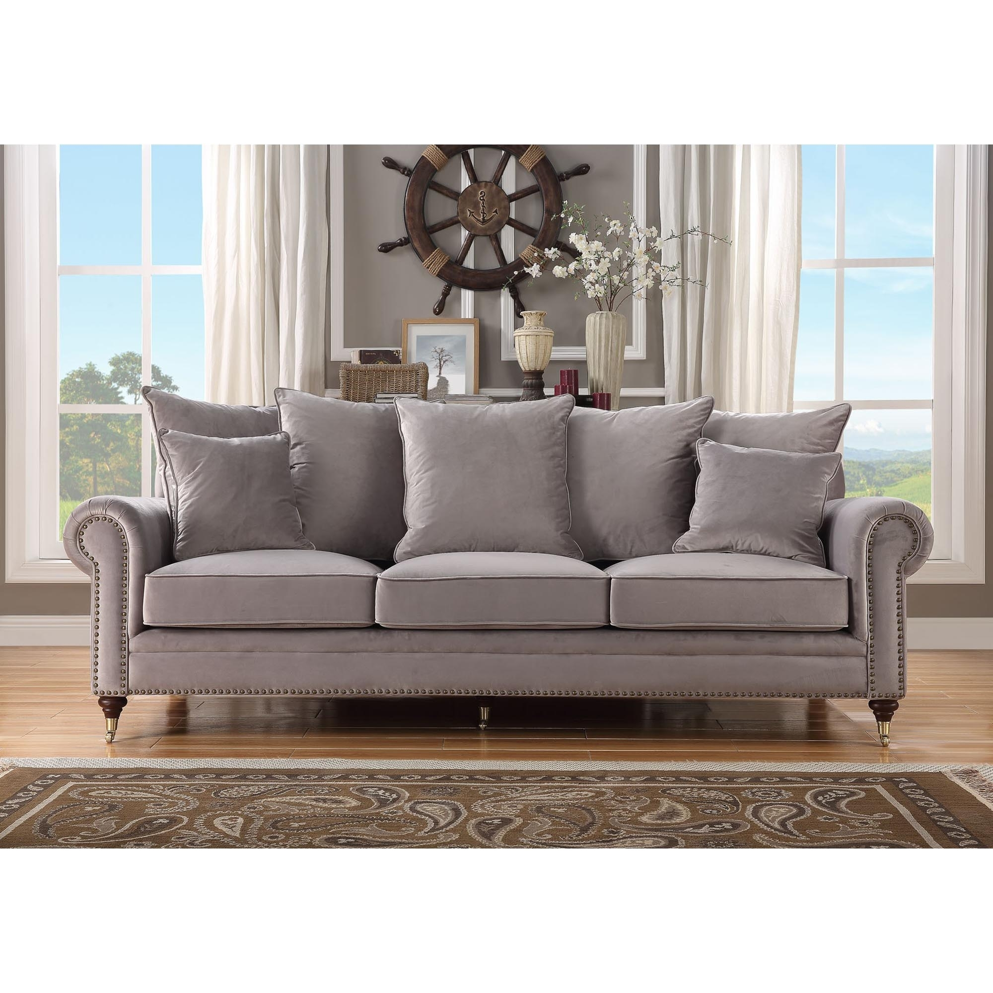 Hampton 3 Seater Grey Sofa  Sofa  HomesDirect365