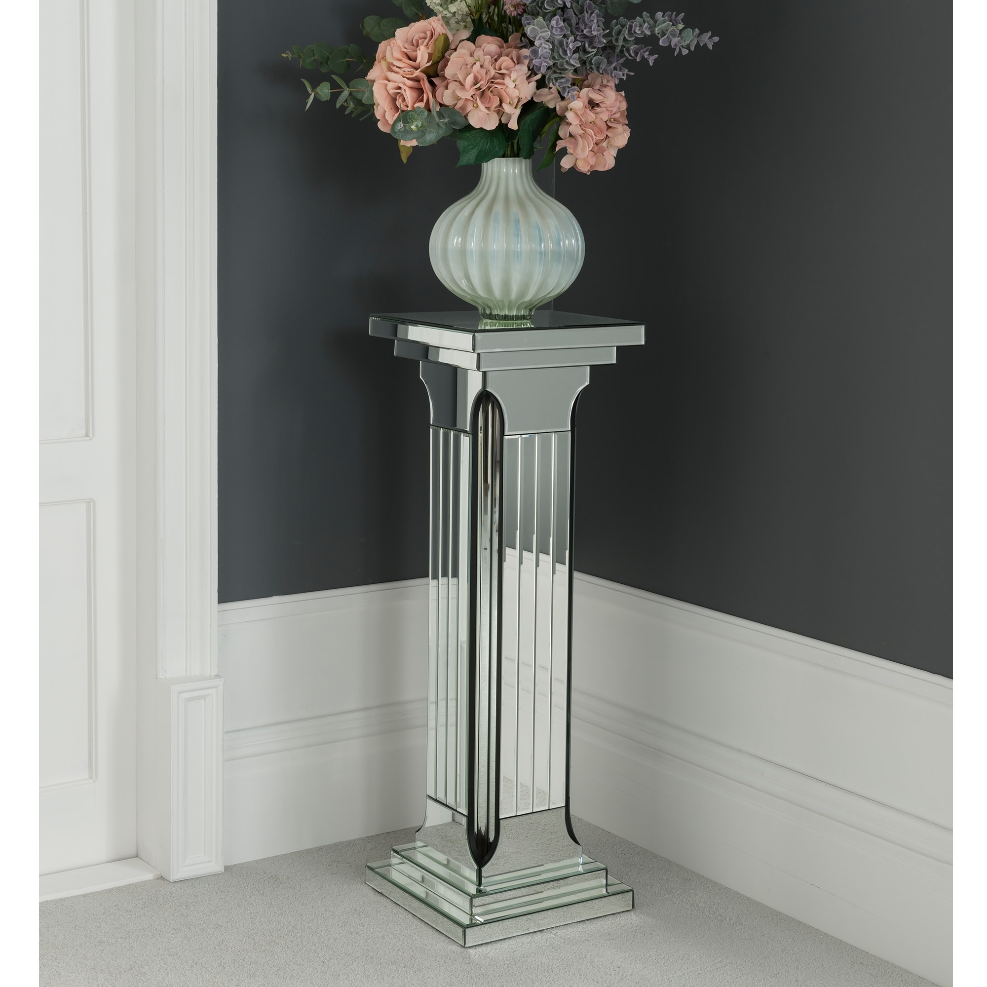 Large Mirrored Column Pedestal
