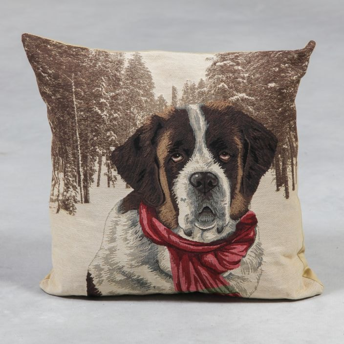 St Bernard Tapestry Cushion  French Home Accessories