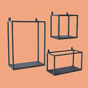 stoere metalen wandrekken set wandrek wandboxes urban interiors zwart metaal