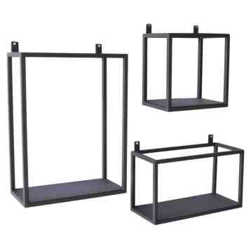 stoere industriele Metalen wandrek set van 3 | Urban interiors | Wandboxes | wandrekken | metal