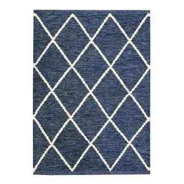 Vloerkleed Aiden handgemaakt van katoen en schapen wol, donkerblauw met ruitpatroon