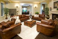 Light Brown Leather Sofa Sets in Living Room with ...