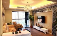 Classy Beige Living Room with Beige Wallpaper with Nice ...