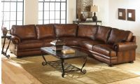 Traditional Distressed Brown Leather Sofa in Curvy ...