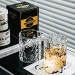 European Style Simple Style Gilt Rim Glass Thick Embossed Glass Home Whiskey Glass Transparent Foreign Wine Glass