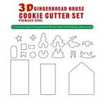 8/18-piece Set Gingerbread House Stainless Steel Christmas Scenario Cookie Cutters Set Biscuit Mold Fondant Cutter Baking Tools