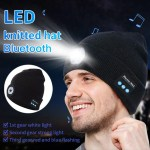 Warm Beanie Bluetooth 5.0 LED Hat Wireless Stereo Headset Music Player With MIC For Handsfree Support Dimming Rechargeable