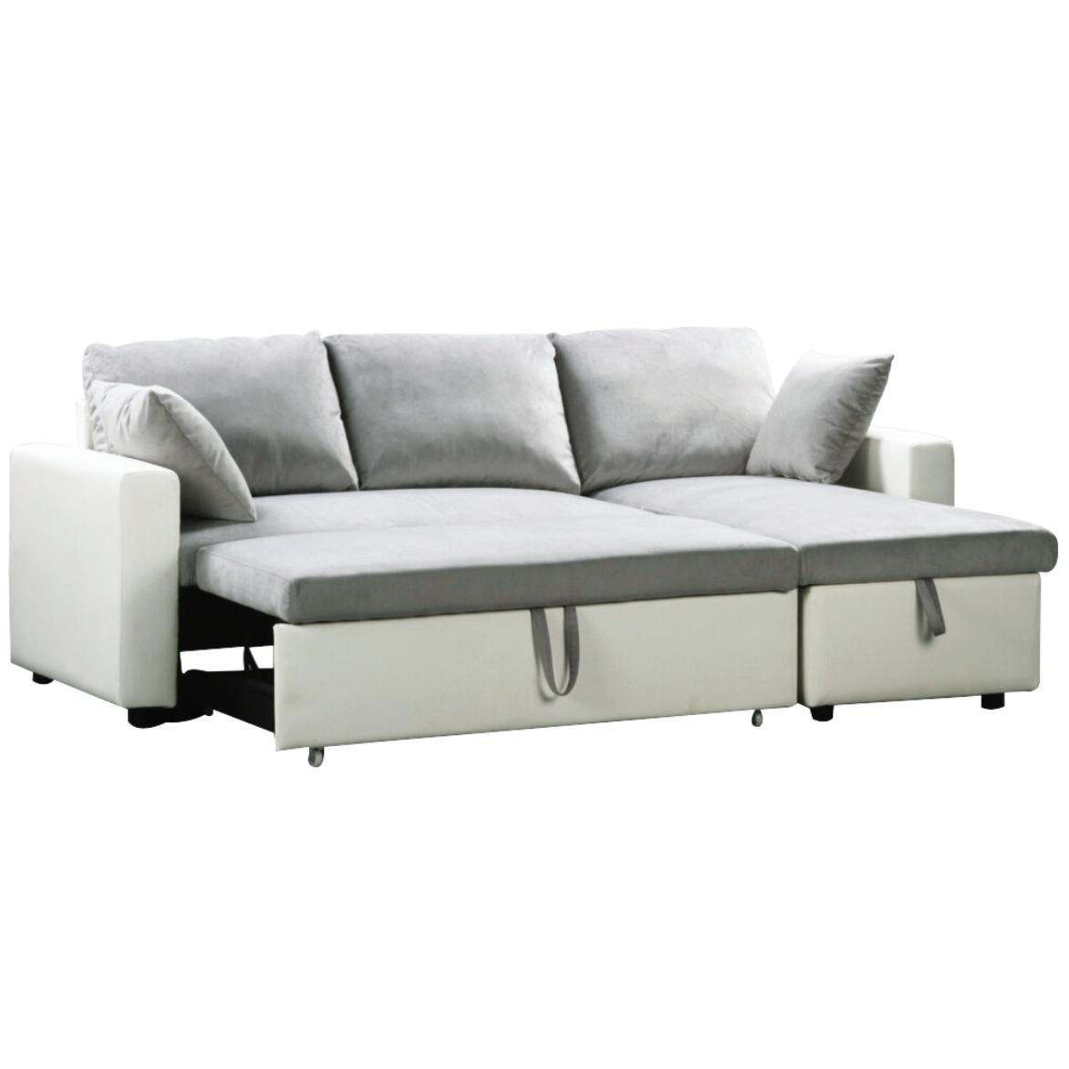 grey and white sofa bed leather beige reversible corner pu microlfiber