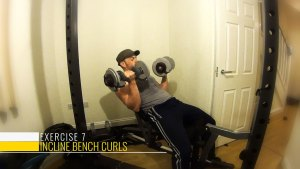 Incline bench curls