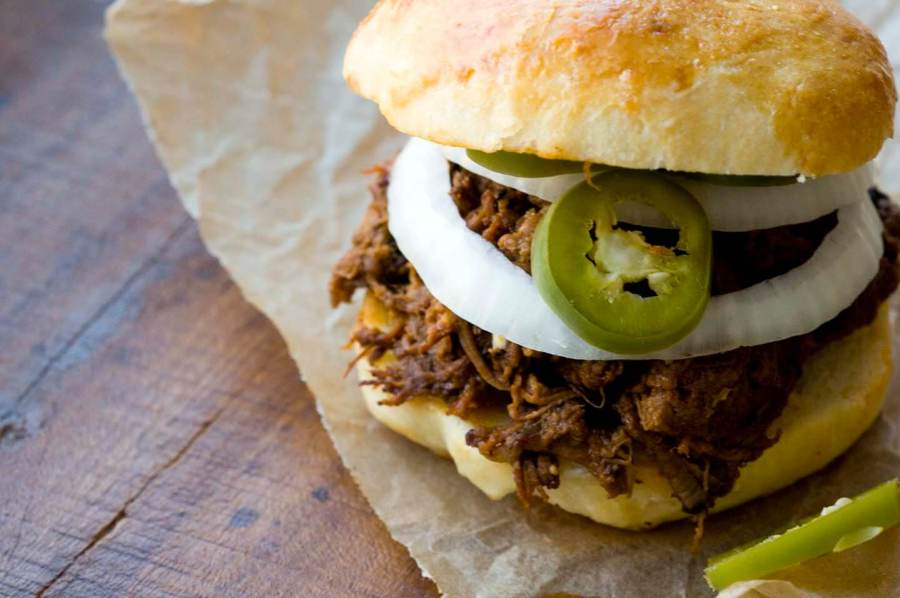 Chopped beef sandwich with a spicy barbecue sauce  | Homesick Texan