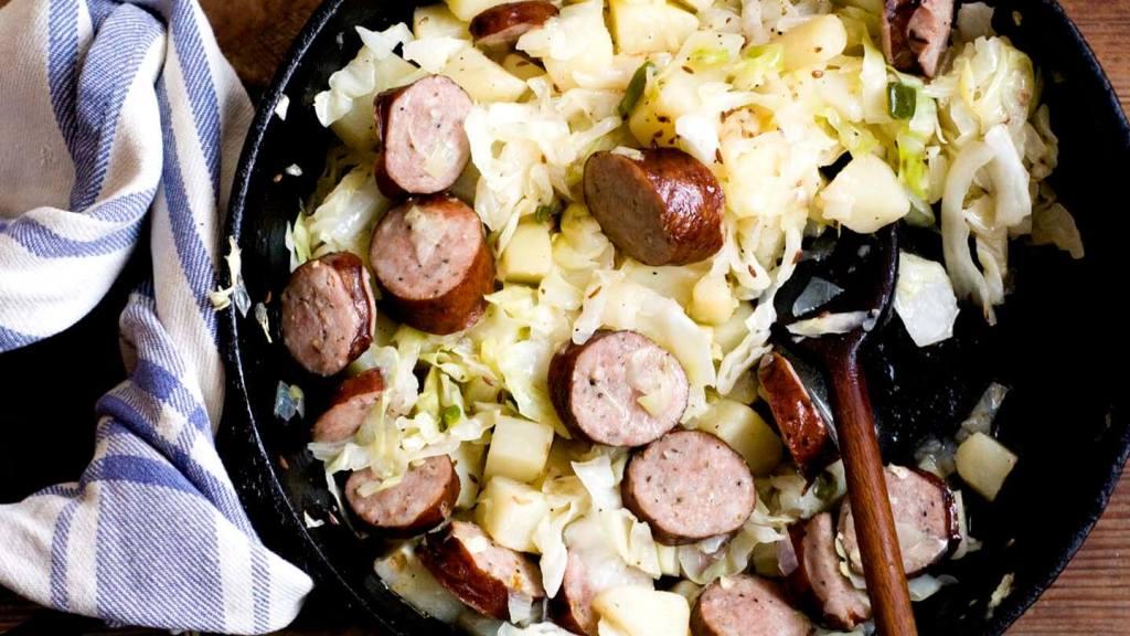 Sausage, potato, and cabbage skillet fry | Homesick Texan