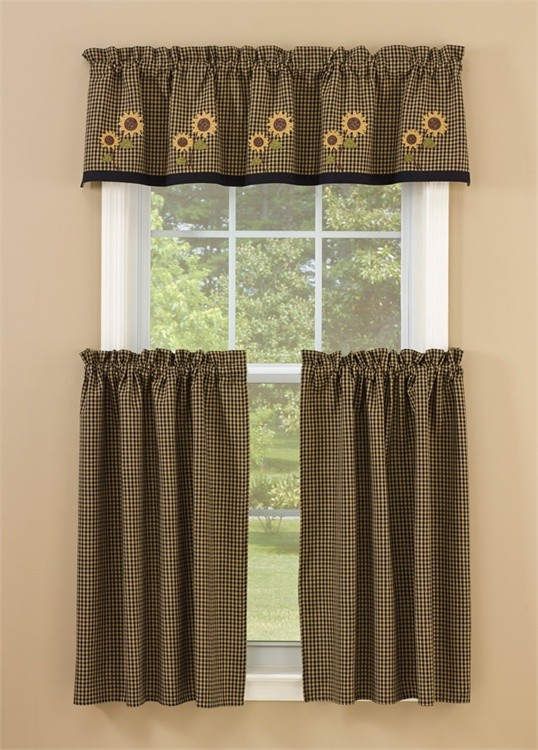 Park Designs Sunflower Check Lined Valance