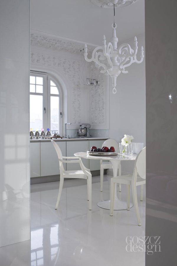 Biaa kuchnia z jadalni otwarta na salon  Inspiracja