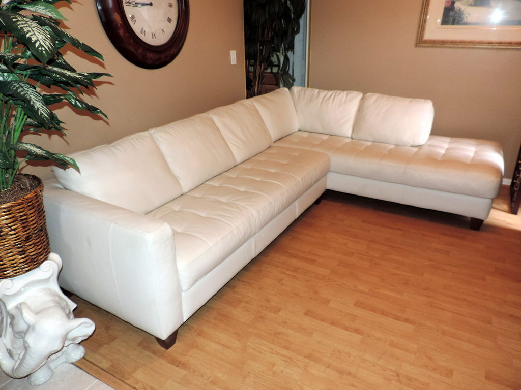piece cream leather sectional sofa