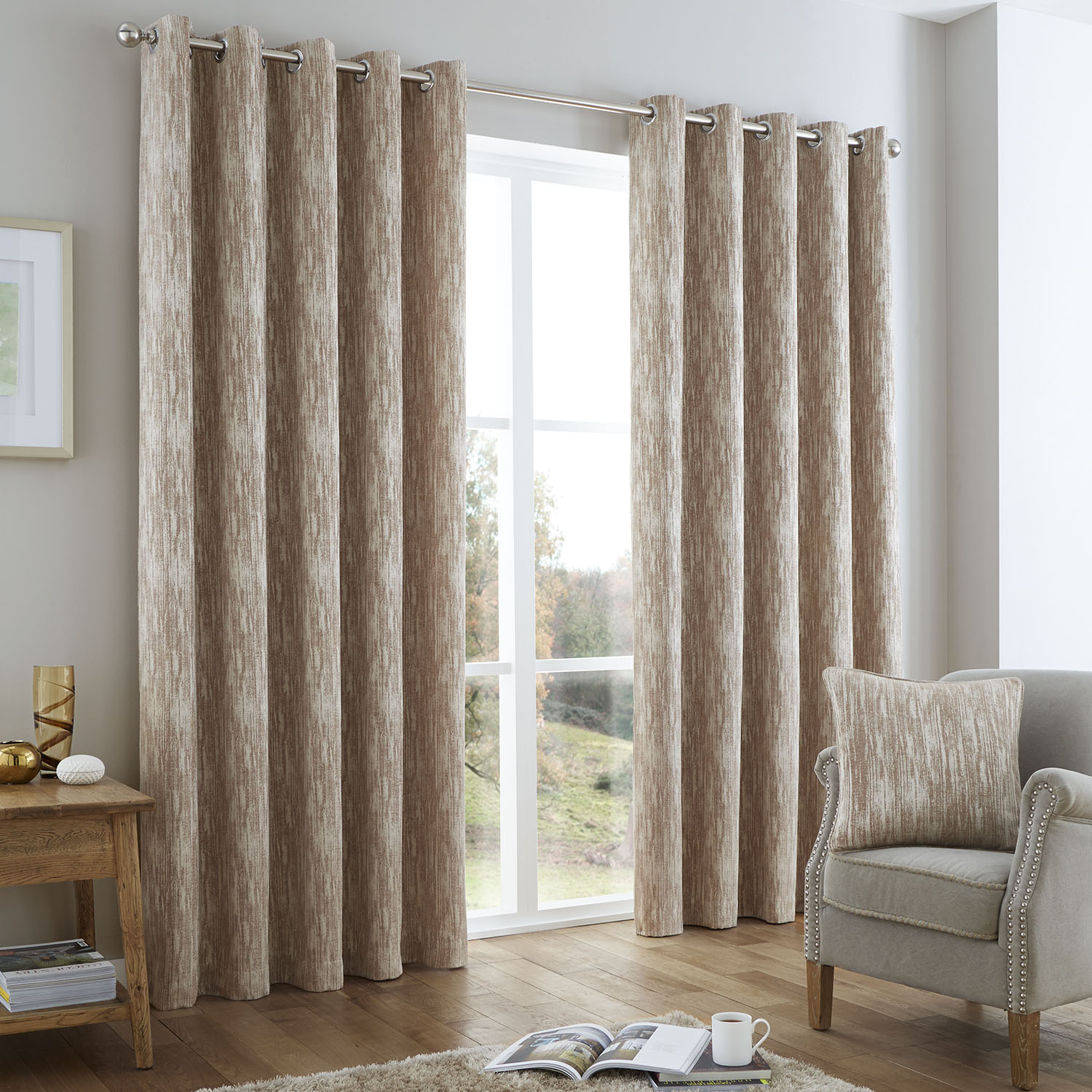 Distressed Chenille Natural Curtain  Home Store  More