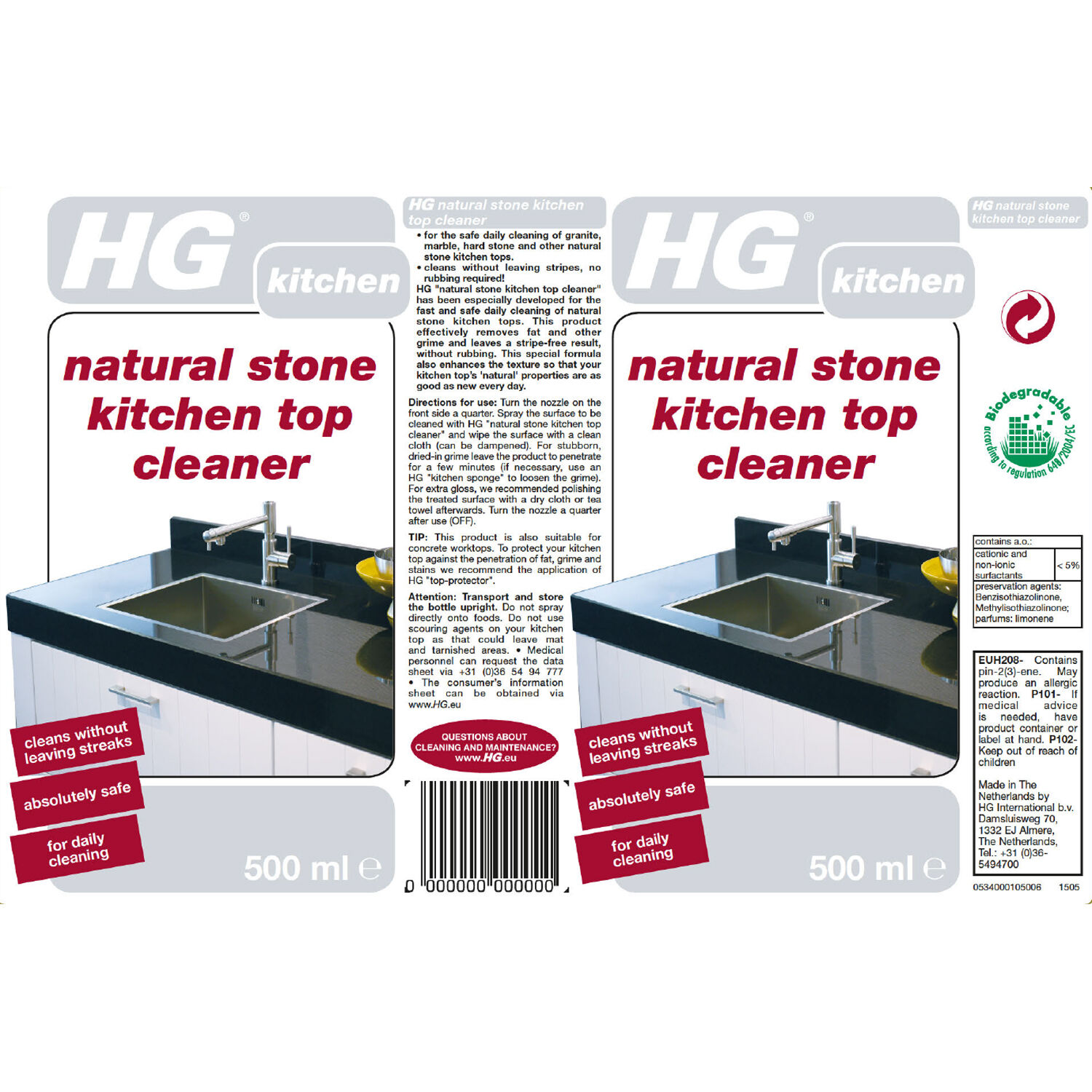 hg natural stone kitchen top cleaner 0 5l 900896