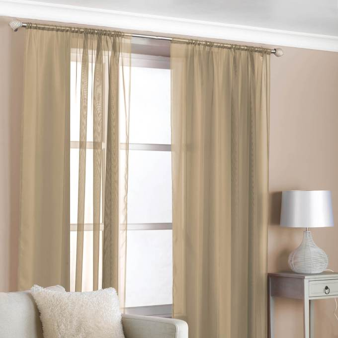 Slot Top Voile Curtains Latte 2 Pack Click To Zoom