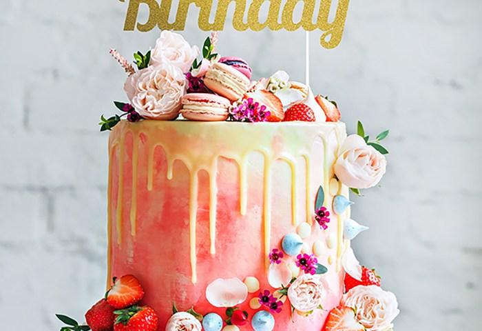 Glitter Happy Birthday Gold Cake Topper Home Store More