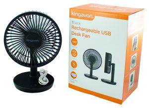 black rechargeable usb desk fan
