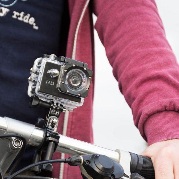 HD Waterproof Action Camera fixed on bike lens facing