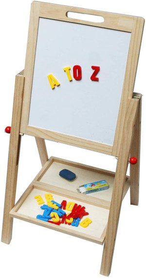 Children's Wooden Easel Toy White yellow and red letter magnets A T O Z on board