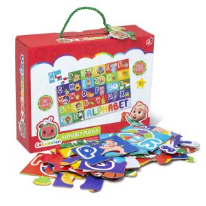 CoComelon Giant Alphabet Puzzle in a red box with multicoloured puzzle on the front