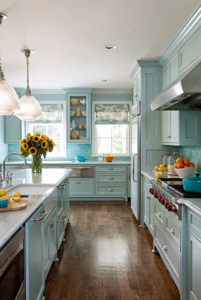 blue and white kitchen cabinet ideas Blue Kitchen Cabinets 2017