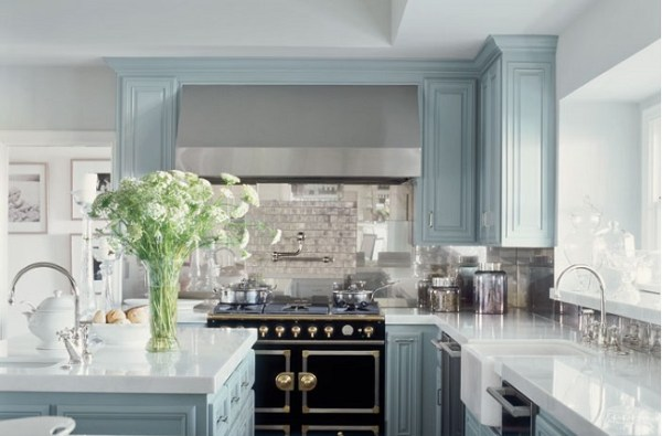 blue and white kitchen cabinet ideas 23 Gorgeous Blue Kitchen Cabinet Ideas