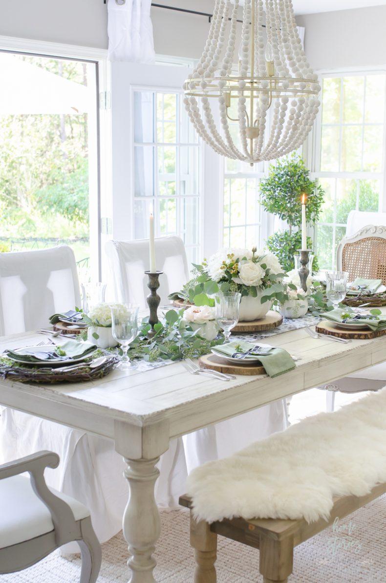 Elegant Black White And Green Farmhouse Table Setting For Fall