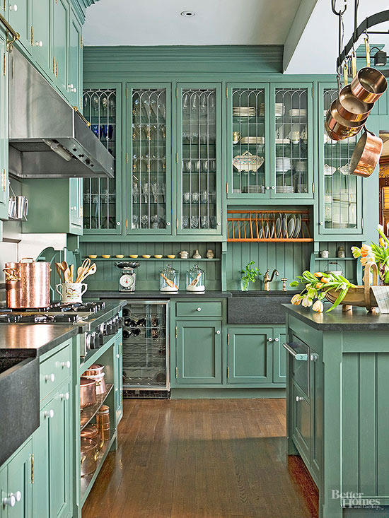 green kitchen cabinets design for small space 20 gorgeous cabinet ideas image source bhg
