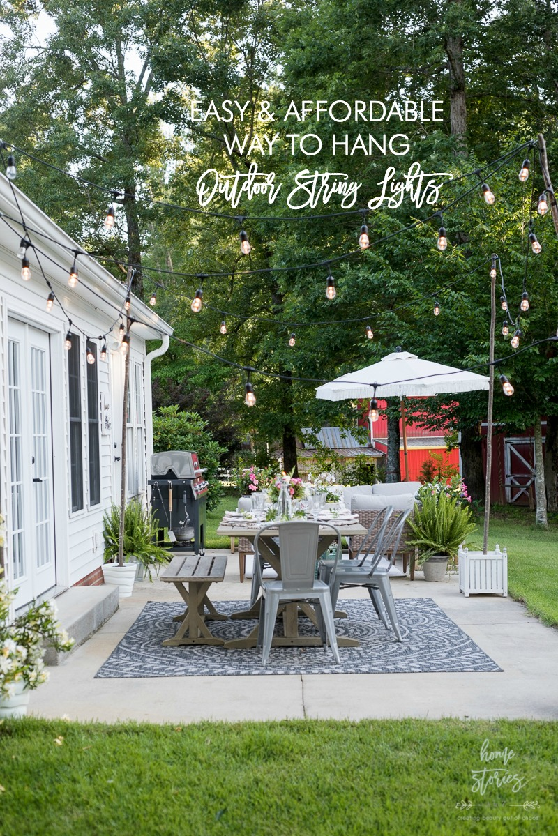Affordable Patio Entertaining How To Easily Hang Outdoor String Lights Without Trees