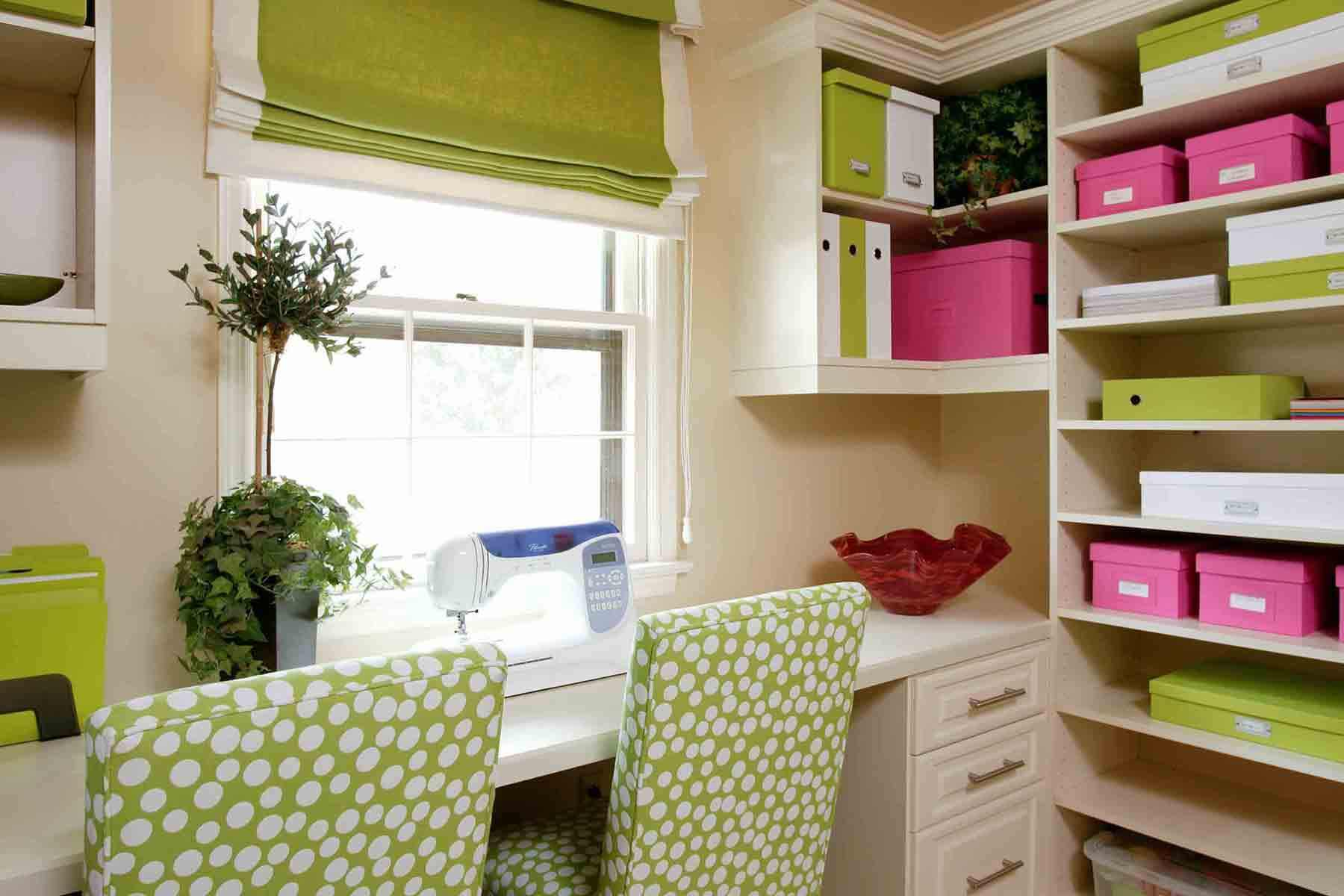 ideas for craft room chairs chair covers office seats 23 design creative rooms green pink and white sewing with custom built in storage from floor